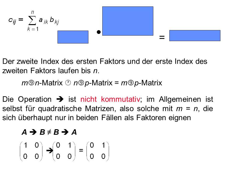 Der zweite Index des ersten Faktors und der erste Index des zweiten Faktors laufen bis n. m n-Matrix n p-Matrix = m p-Matrix =