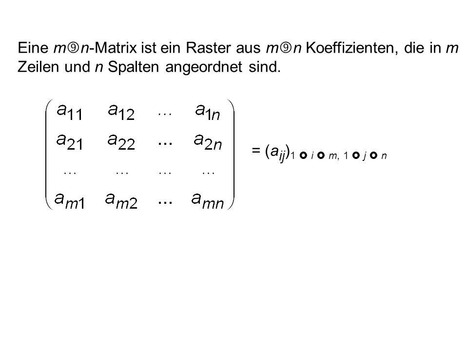 Eine m n-Matrix ist ein Raster aus m n Koeffizienten, die in m Zeilen und n Spalten angeordnet sind.