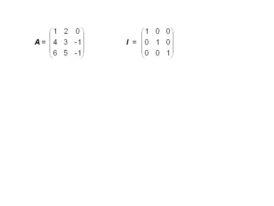 Berechnung der Inversen A -1 von A. (E n (...(E 3 (E 2 (E 1 A))))) = I (E n... E 3 E 2 E 1 ) A = I (E n... E 3 E 2 E 1 I) A = I = A -1 A Werden also d