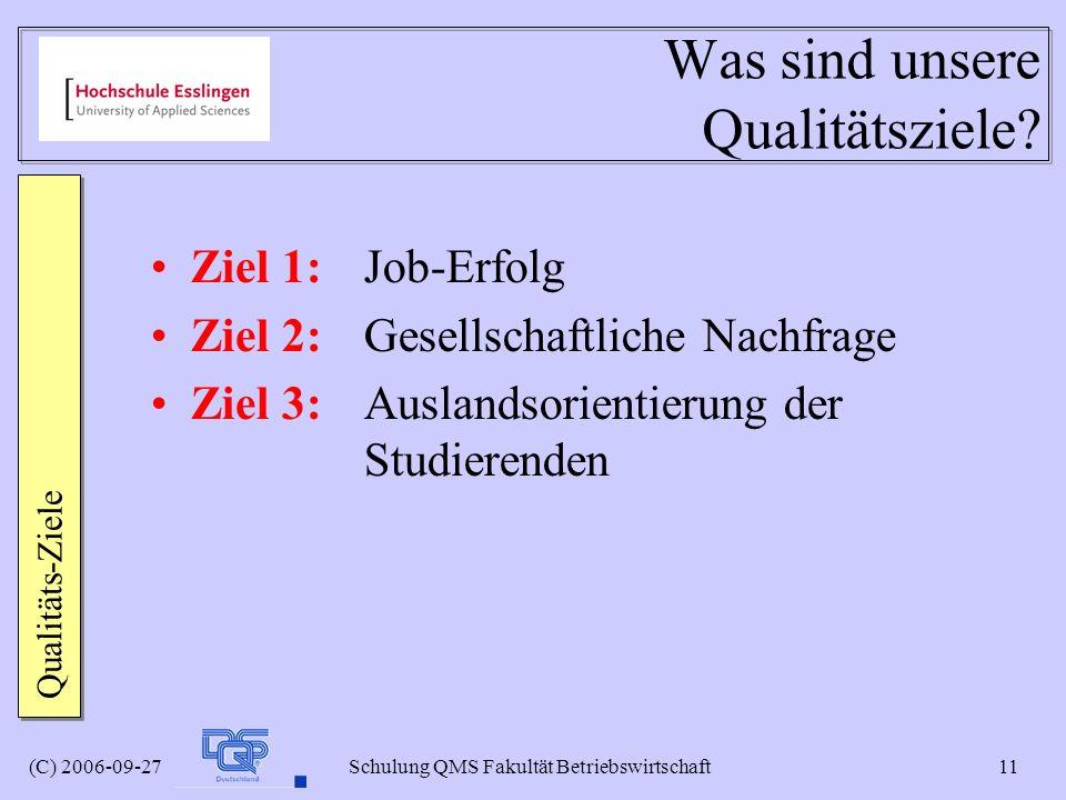 (C) 2006-09-27 Schulung QMS Fakultät Betriebswirtschaft 11 Was sind unsere Qualitätsziele? Ziel 1: Job-Erfolg Ziel 2: Gesellschaftliche Nachfrage Ziel