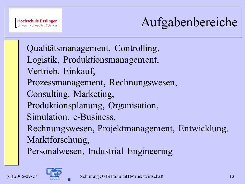 (C) 2006-09-27 Schulung QMS Fakultät Betriebswirtschaft 13 Aufgabenbereiche Qualitätsmanagement, Controlling, Logistik, Produktionsmanagement, Vertrie