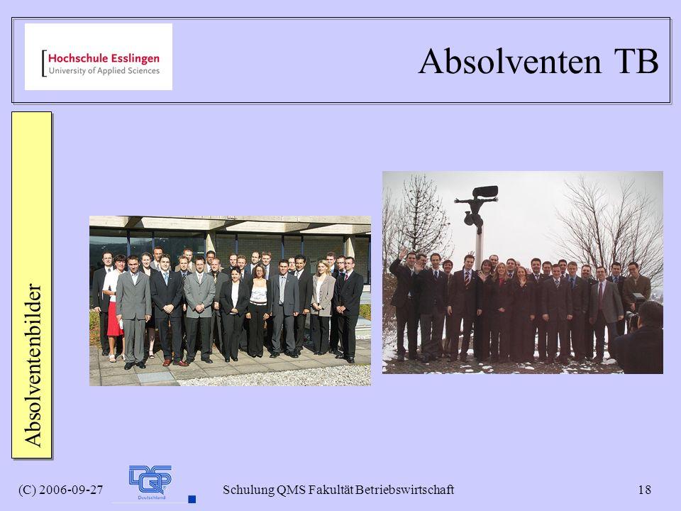 (C) 2006-09-27 Schulung QMS Fakultät Betriebswirtschaft 18 Absolventen TB Absolventenbilder