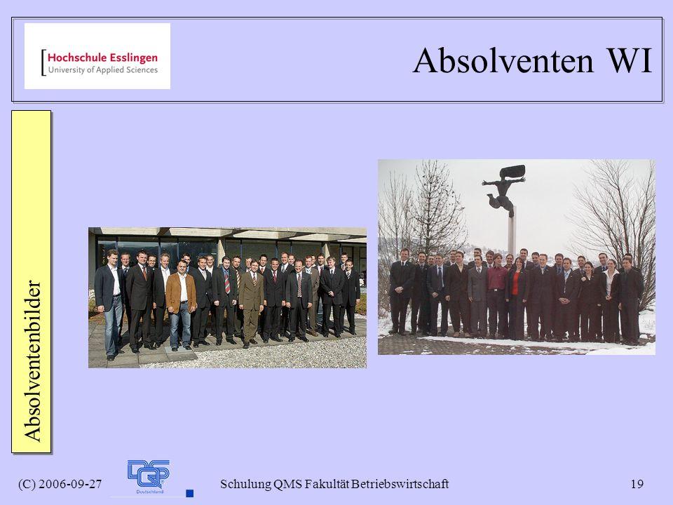 (C) 2006-09-27 Schulung QMS Fakultät Betriebswirtschaft 19 Absolventen WI Absolventenbilder