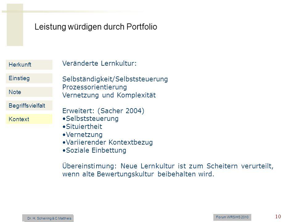 Leistung würdigen durch Portfolio Dr. H. Scheiring & C. Mattheis Forum WRS/HS 2010 10 Herkunft Einstieg Note Begriffsvielfalt Kontext Veränderte Lernk