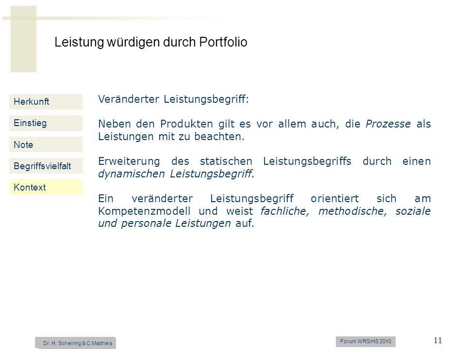 Leistung würdigen durch Portfolio Dr. H. Scheiring & C. Mattheis Forum WRS/HS 2010 11 Herkunft Einstieg Note Begriffsvielfalt Kontext Veränderter Leis