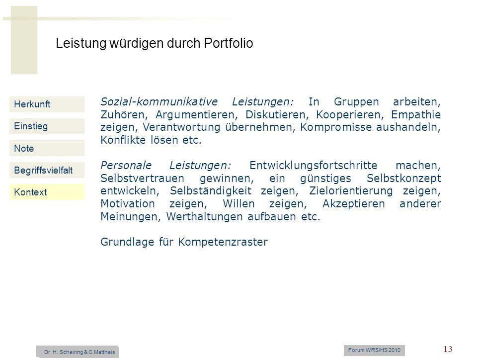 Leistung würdigen durch Portfolio Dr. H. Scheiring & C. Mattheis Forum WRS/HS 2010 13 Herkunft Einstieg Note Begriffsvielfalt Kontext Sozial-kommunika