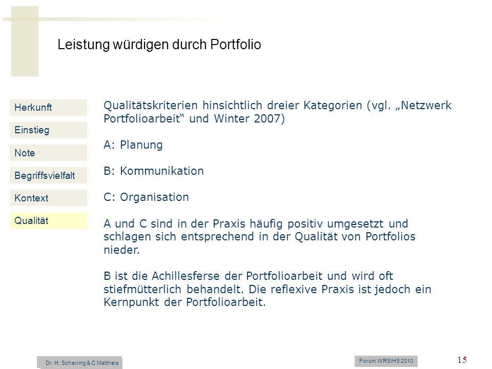 Leistung würdigen durch Portfolio Dr. H. Scheiring & C. Mattheis Forum WRS/HS 2010 15 Herkunft Einstieg Note Begriffsvielfalt Kontext Qualitätskriteri