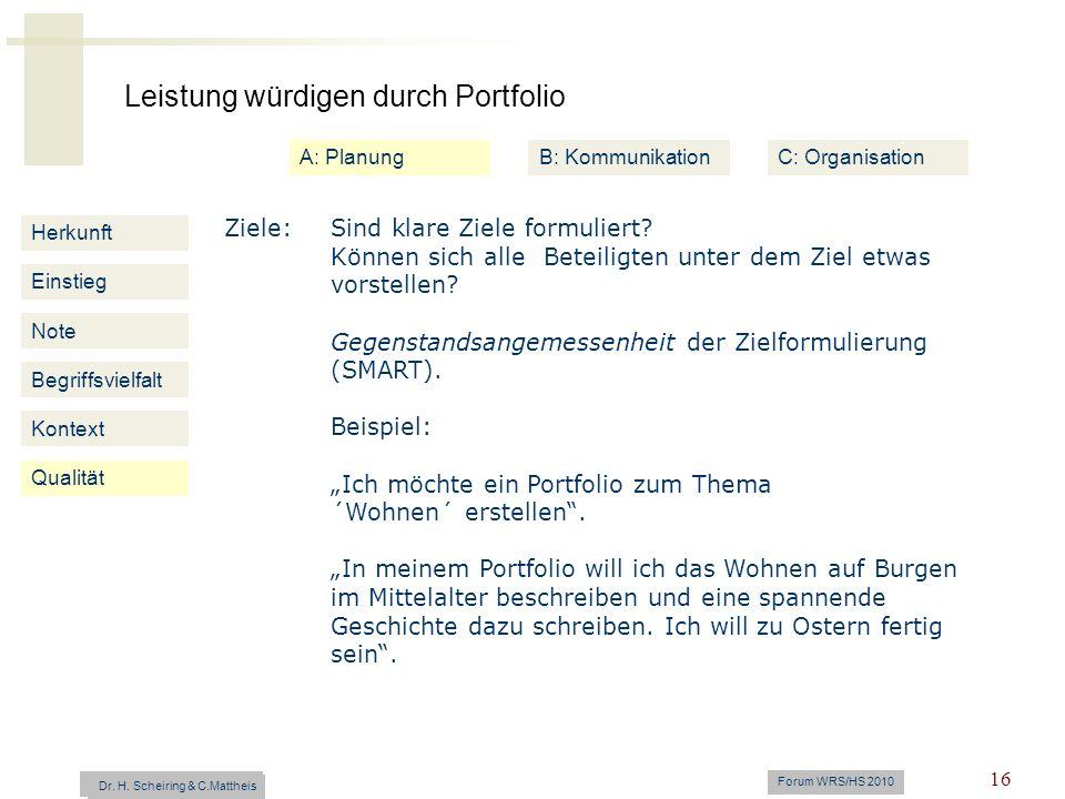 Leistung würdigen durch Portfolio Dr. H. Scheiring & C. Mattheis Forum WRS/HS 2010 16 Herkunft Einstieg Note Begriffsvielfalt Kontext Ziele: Sind klar