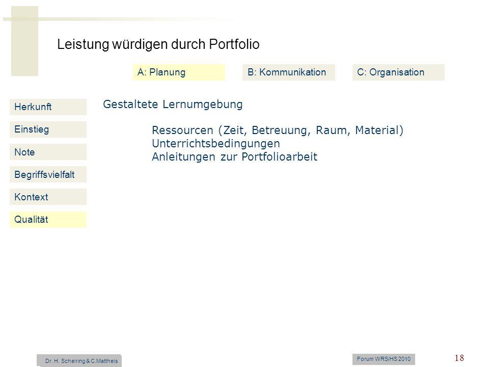 Leistung würdigen durch Portfolio Dr. H. Scheiring & C. Mattheis Forum WRS/HS 2010 18 Herkunft Einstieg Note Begriffsvielfalt Kontext Gestaltete Lernu