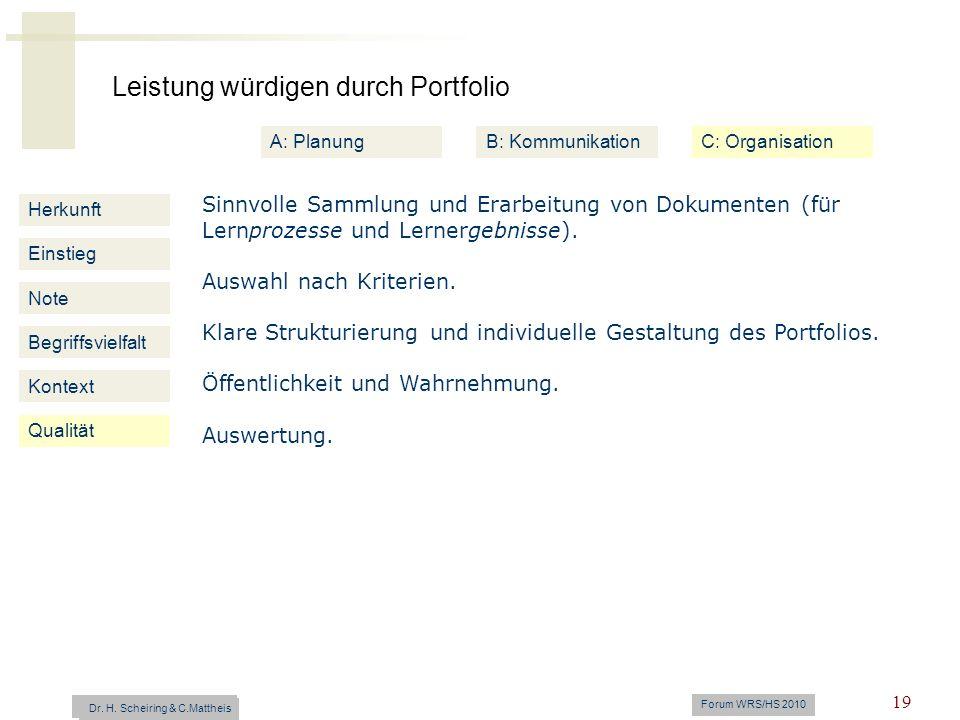 Leistung würdigen durch Portfolio Dr. H. Scheiring & C. Mattheis Forum WRS/HS 2010 19 Herkunft Einstieg Note Begriffsvielfalt Kontext Sinnvolle Sammlu