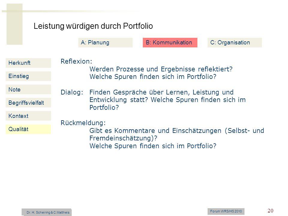 Leistung würdigen durch Portfolio Dr. H. Scheiring & C. Mattheis Forum WRS/HS 2010 20 Herkunft Einstieg Note Begriffsvielfalt Kontext Reflexion: Werde