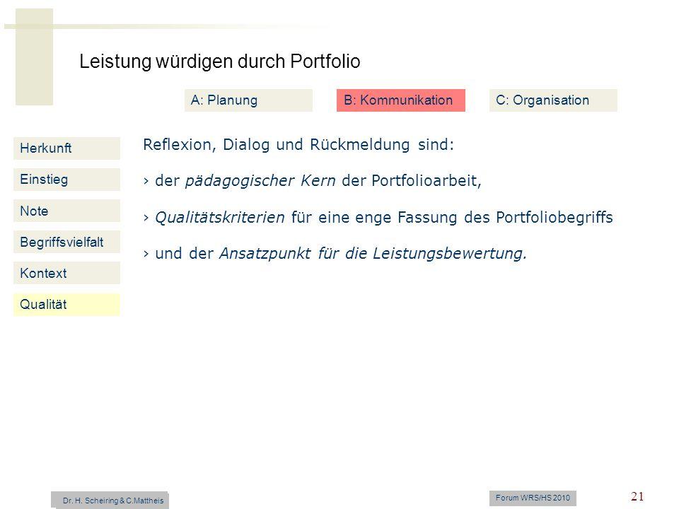 Leistung würdigen durch Portfolio Dr. H. Scheiring & C. Mattheis Forum WRS/HS 2010 21 Herkunft Einstieg Note Begriffsvielfalt Kontext Reflexion, Dialo