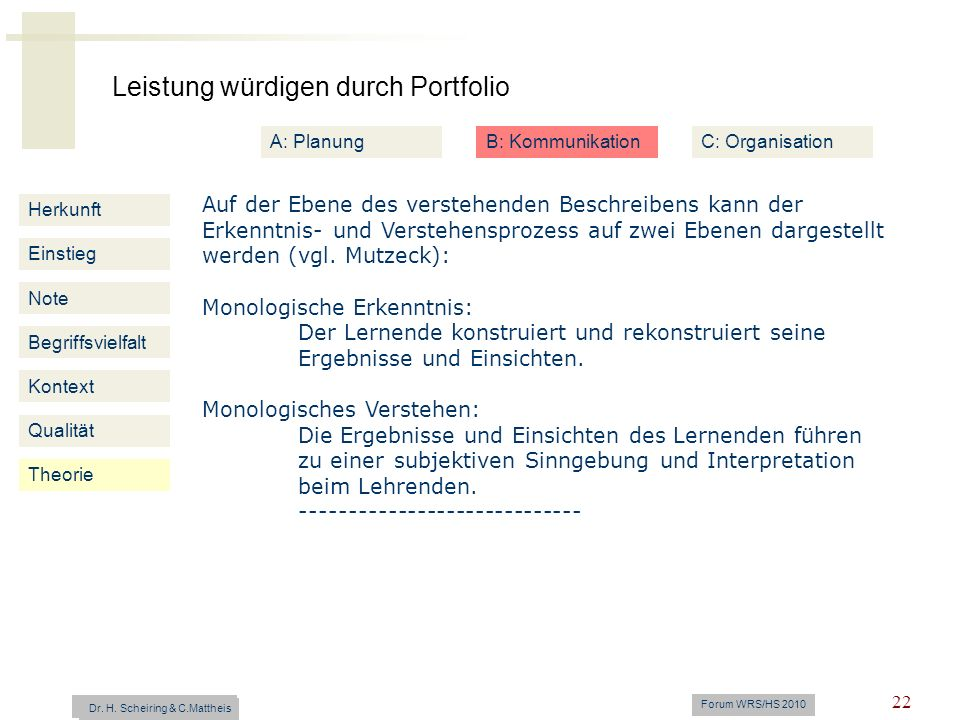 Leistung würdigen durch Portfolio Dr. H. Scheiring & C. Mattheis Forum WRS/HS 2010 22 Herkunft Einstieg Note Begriffsvielfalt Kontext Auf der Ebene de