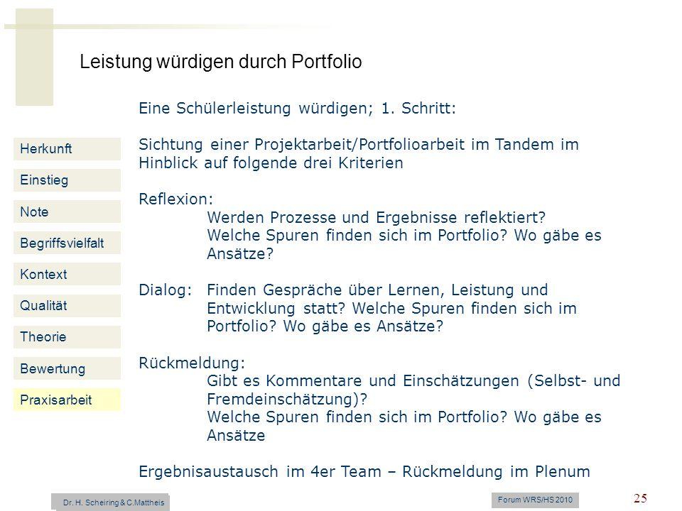 Leistung würdigen durch Portfolio Dr. H. Scheiring & C. Mattheis Forum WRS/HS 2010 25 Herkunft Einstieg Note Begriffsvielfalt Kontext Qualität Theorie