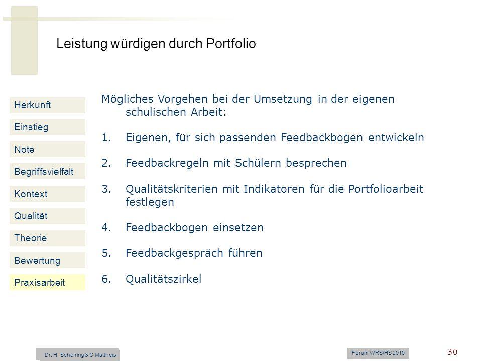 Leistung würdigen durch Portfolio Dr. H. Scheiring & C. Mattheis Forum WRS/HS 2010 30 Herkunft Einstieg Note Begriffsvielfalt Kontext Mögliches Vorgeh