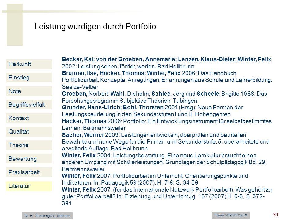 Leistung würdigen durch Portfolio Dr. H. Scheiring & C. Mattheis Forum WRS/HS 2010 31 Herkunft Einstieg Note Begriffsvielfalt Kontext Qualität Theorie