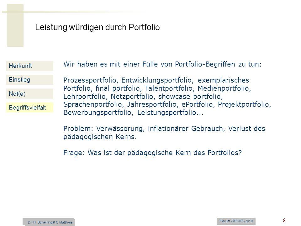 Leistung würdigen durch Portfolio Dr. H. Scheiring & C. Mattheis Forum WRS/HS 2010 8 Herkunft Einstieg Not(e) Begriffsvielfalt Wir haben es mit einer