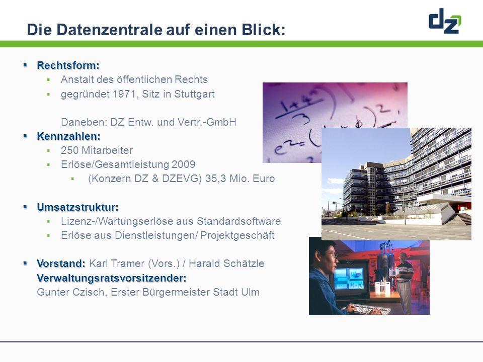 Die Datenzentrale auf einen Blick: Rechtsform: Rechtsform: Anstalt des öffentlichen Rechts gegründet 1971, Sitz in Stuttgart Daneben: DZ Entw. und Ver