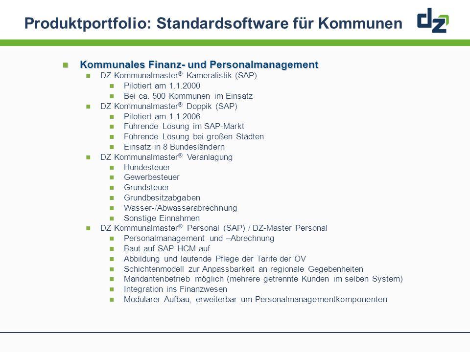 Produktportfolio: Standardsoftware für Kommunen Kommunales Finanz- und Personalmanagement Kommunales Finanz- und Personalmanagement DZ Kommunalmaster