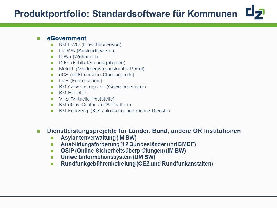 Produktportfolio: Standardsoftware für Kommunen eGovernment eGovernment KM EWO (Einwohnerwesen) LaDiVA (Ausländerwesen) DiWo (Wohngeld) DiFe (Fehlbele