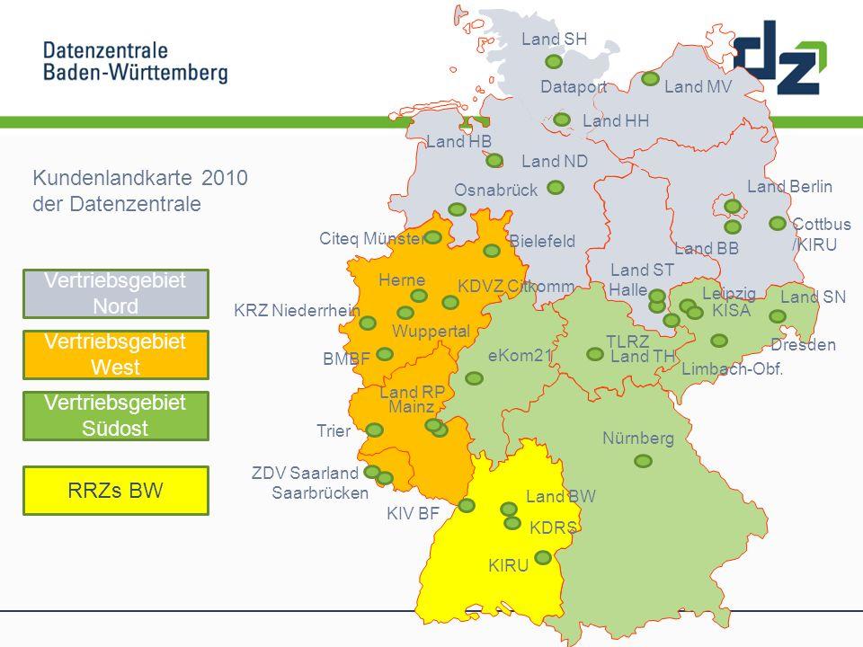 Kundenlandkarte 2010 der Datenzentrale Dataport Limbach-Obf. Dresden Cottbus /KIRU Land Berlin KDVZ Citkomm Herne Wuppertal KRZ Niederrhein Citeq Müns