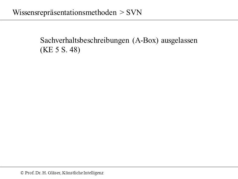 © Prof. Dr. H. Gläser, Künstliche Intelligenz Wissensrepräsentationsmethoden > SVN Sachverhaltsbeschreibungen (A-Box) ausgelassen (KE 5 S. 48)