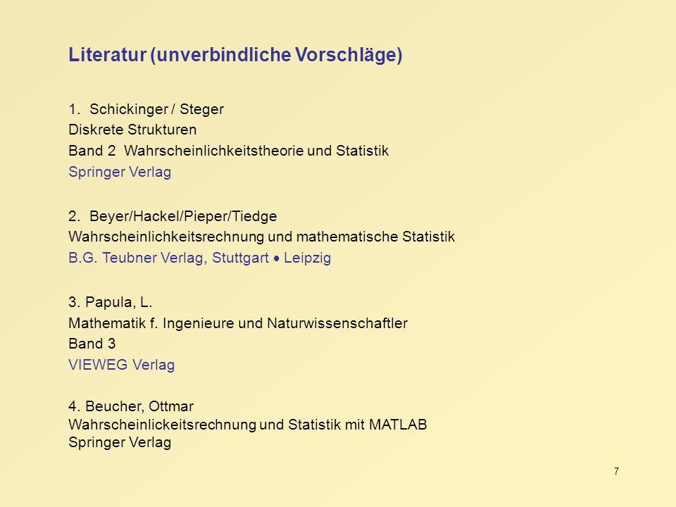 7 Literatur (unverbindliche Vorschläge) 1. Schickinger / Steger Diskrete Strukturen Band 2 Wahrscheinlichkeitstheorie und Statistik Springer Verlag 2.