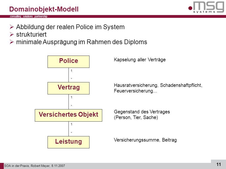 SOA in der Praxis, Robert Meyer, 8.11.2007 11.consulting.solutions.partnership B Domainobjekt-Modell Abbildung der realen Police im System strukturier