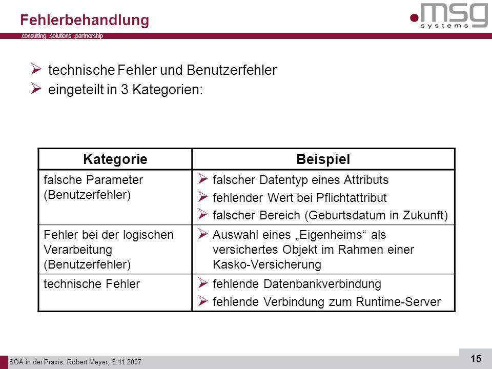 SOA in der Praxis, Robert Meyer, 8.11.2007 15.consulting.solutions.partnership B Fehlerbehandlung technische Fehler und Benutzerfehler eingeteilt in 3