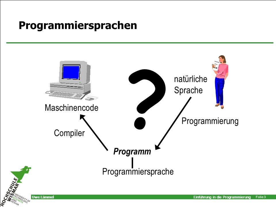 Einführung in die Programmierung Folie 4 Uwe Lämmel Einführung in die Programmierung Was hat es gebracht?