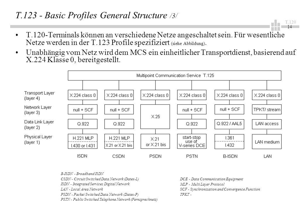 T.120 14 T.123 - Basic Profiles General Structure /3/ T.120-Terminals können an verschiedene Netze angeschaltet sein. Für wesentliche Netze werden in