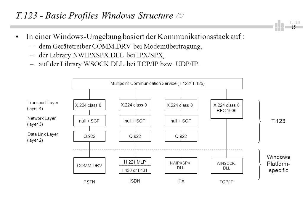 T.120 15 T.123 - Basic Profiles Windows Structure /2/ In einer Windows-Umgebung basiert der Kommunikationsstack auf : –dem Gerätetreiber COMM.DRV bei Modemübertragung, –der Library NWIPXSPX.DLL bei IPX/SPX, –auf der Library WSOCK.DLL bei TCP/IP bzw.