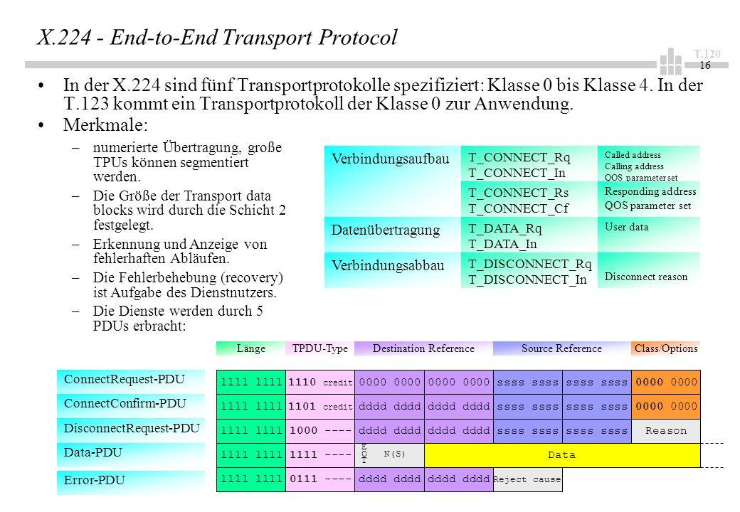T.120 16 X.224 - End-to-End Transport Protocol In der X.224 sind fünf Transportprotokolle spezifiziert: Klasse 0 bis Klasse 4. In der T.123 kommt ein