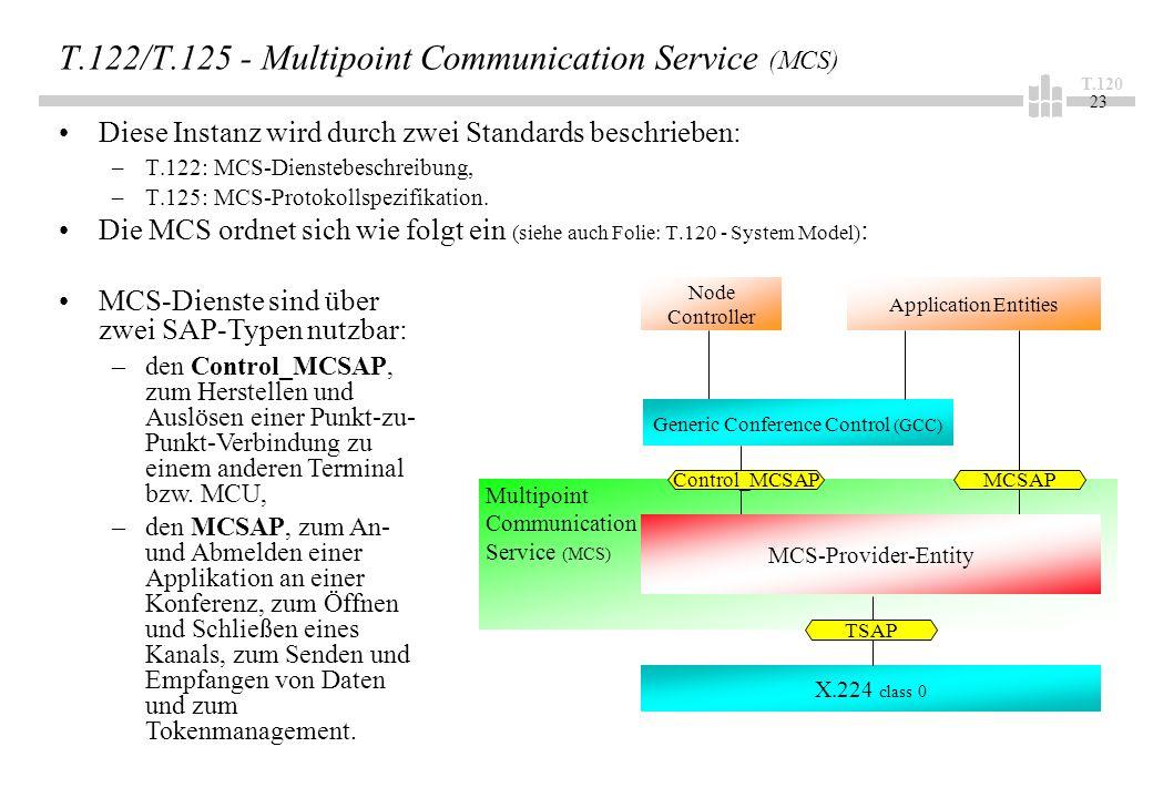 T.120 23 T.122/T.125 - Multipoint Communication Service (MCS) Diese Instanz wird durch zwei Standards beschrieben: –T.122: MCS-Dienstebeschreibung, –T.125: MCS-Protokollspezifikation.