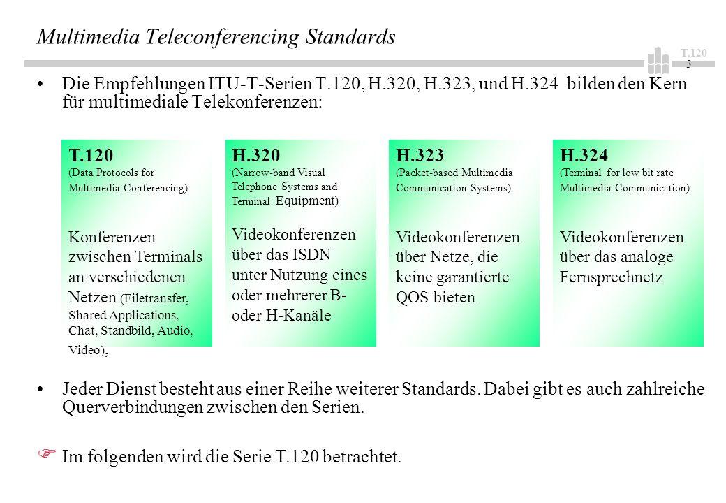 T.120 3 Multimedia Teleconferencing Standards Die Empfehlungen ITU-T-Serien T.120, H.320, H.323, und H.324 bilden den Kern für multimediale Telekonferenzen: T.120 (Data Protocols for Multimedia Conferencing) Konferenzen zwischen Terminals an verschiedenen Netzen (Filetransfer, Shared Applications, Chat, Standbild, Audio, Video), H.320 (Narrow-band Visual Telephone Systems and Terminal Equipment) Videokonferenzen über das ISDN unter Nutzung eines oder mehrerer B- oder H-Kanäle H.323 (Packet-based Multimedia Communication Systems) Videokonferenzen über Netze, die keine garantierte QOS bieten H.324 (Terminal for low bit rate Multimedia Communication) Videokonferenzen über das analoge Fernsprechnetz Jeder Dienst besteht aus einer Reihe weiterer Standards.