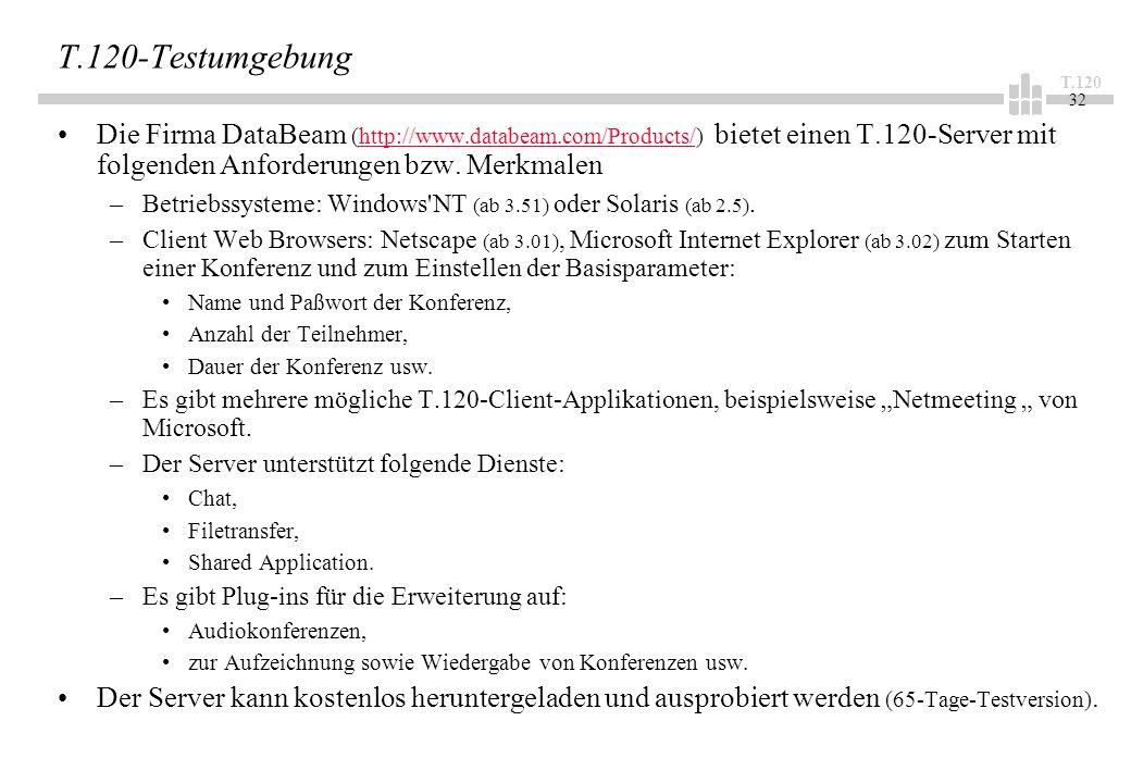T.120 32 T.120-Testumgebung Die Firma DataBeam (http://www.databeam.com/Products/) bietet einen T.120-Server mit folgenden Anforderungen bzw. Merkmale