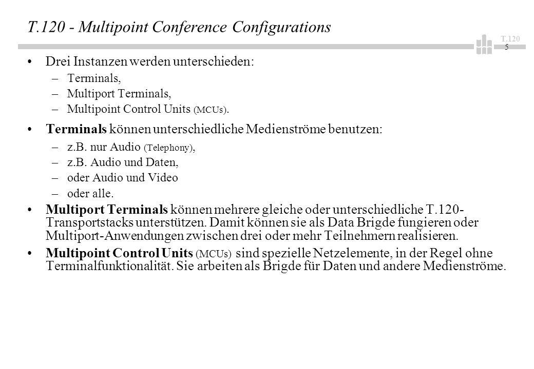 T.120 5 T.120 - Multipoint Conference Configurations Drei Instanzen werden unterschieden: –Terminals, –Multiport Terminals, –Multipoint Control Units