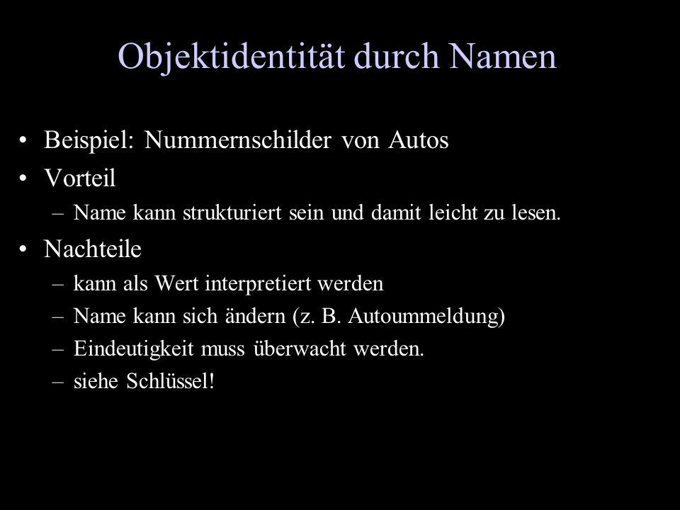 Objektidentität durch Namen Beispiel: Nummernschilder von Autos Vorteil –Name kann strukturiert sein und damit leicht zu lesen. Nachteile –kann als We