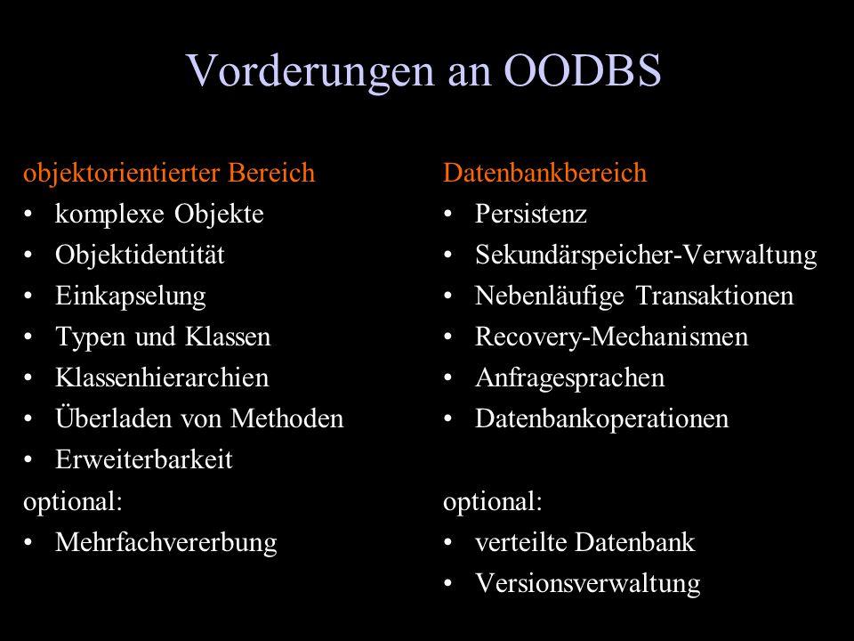 Vorderungen an OODBS objektorientierter Bereich komplexe Objekte Objektidentität Einkapselung Typen und Klassen Klassenhierarchien Überladen von Metho