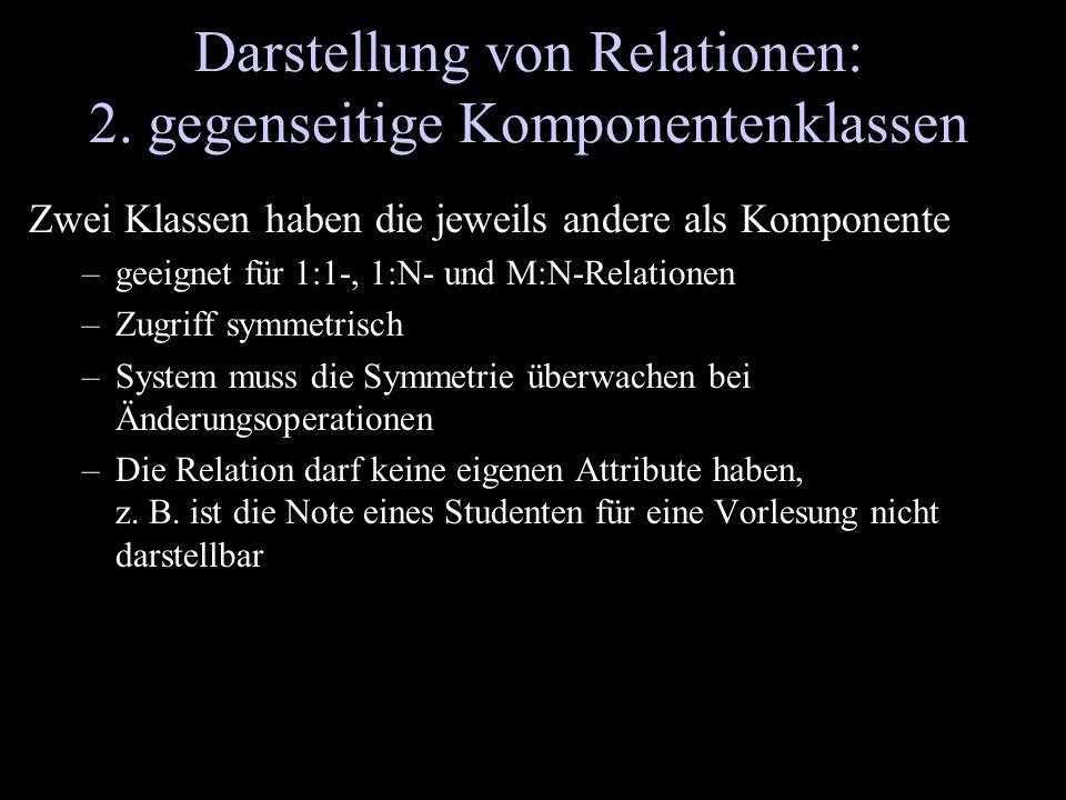 Darstellung von Relationen: 2. gegenseitige Komponentenklassen Zwei Klassen haben die jeweils andere als Komponente –geeignet für 1:1-, 1:N- und M:N-R