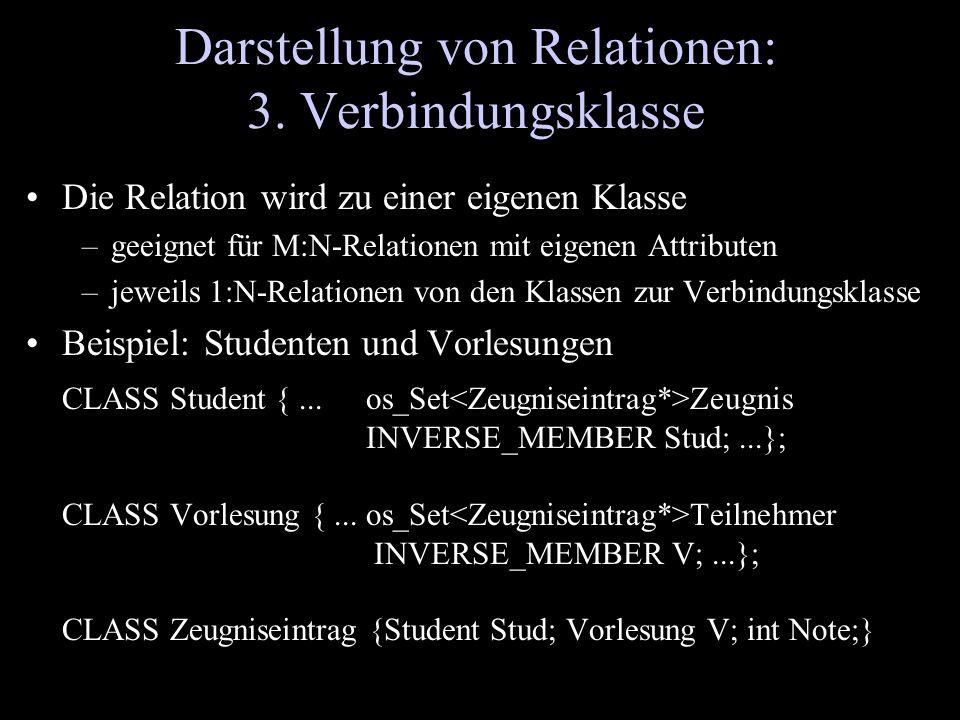 Darstellung von Relationen: 3. Verbindungsklasse Die Relation wird zu einer eigenen Klasse –geeignet für M:N-Relationen mit eigenen Attributen –jeweil
