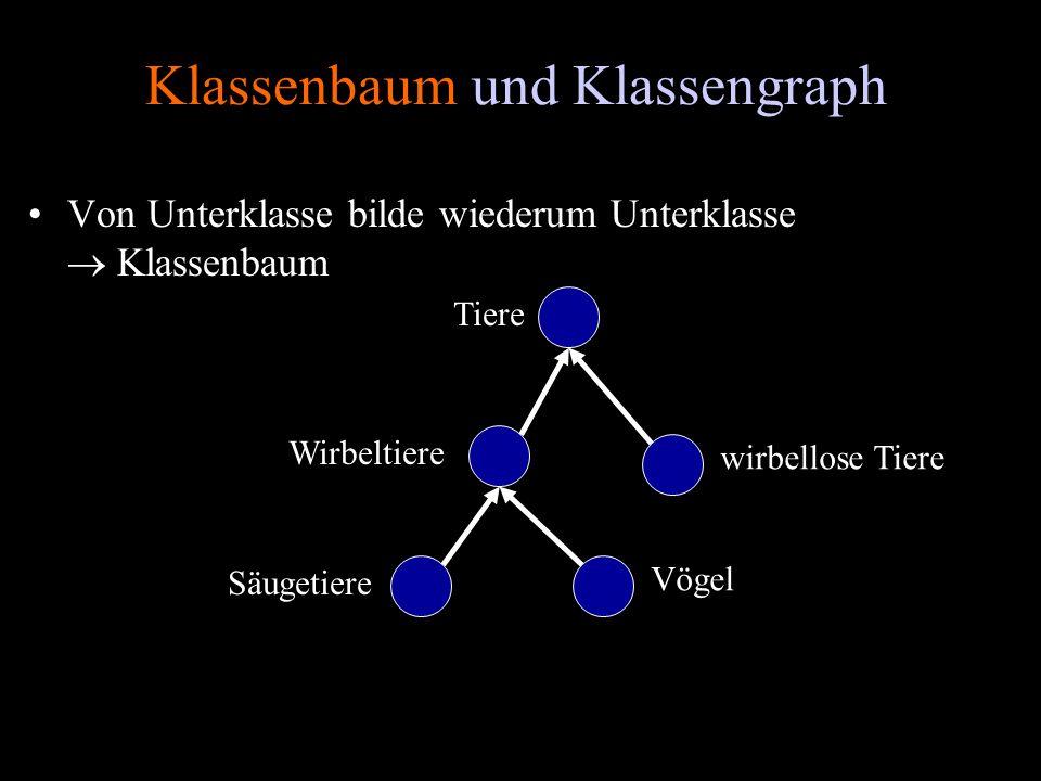Klassenbaum und Klassengraph Von Unterklasse bilde wiederum Unterklasse Klassenbaum Tiere Wirbeltiere Säugetiere Vögel wirbellose Tiere