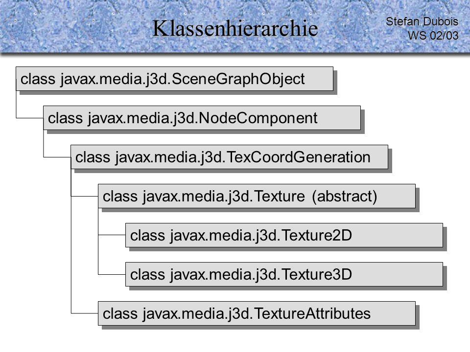 Klassenhierarchie Stefan Dubois WS 02/03 class javax.media.j3d.SceneGraphObject class javax.media.j3d.NodeComponent class javax.media.j3d.TextureAttributes class javax.media.j3d.Texture3D class javax.media.j3d.Texture2D class javax.media.j3d.Texture (abstract) class javax.media.j3d.TexCoordGeneration