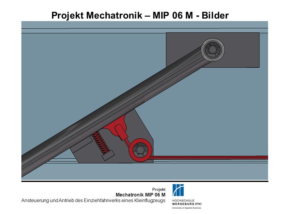 Projekt Mechatronik MIP 06 M Ansteuerung und Antrieb des Einziehfahrwerks eines Kleinflugzeugs Projekt Mechatronik – MIP 06 M – Kennwerte I Flächeninhalt Fahrwerksklappe groß0,2m^2 Flächeninhalt Fahrwerksklappe klein0,1m^2 ACE GS 19-100-DD-700 Abstand Y-Richtung Lagerung Gasfeder im Flügel zu Fahrwerkshauptachse279,1mm Abstand Z-Richtung Lagerung Gasfeder im Flügel zu Fahrwerkshauptachse-80mm Hebellänge am Stützgerüst57mm Winkel Hebel zur Horizontalen ausgefahren12°