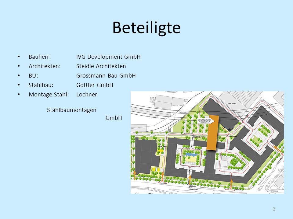 Beteiligte Bauherr: IVG Development GmbH Architekten: Steidle Architekten BU: Grossmann Bau GmbH Stahlbau:Göttler GmbH Montage Stahl: Lochner Stahlbau