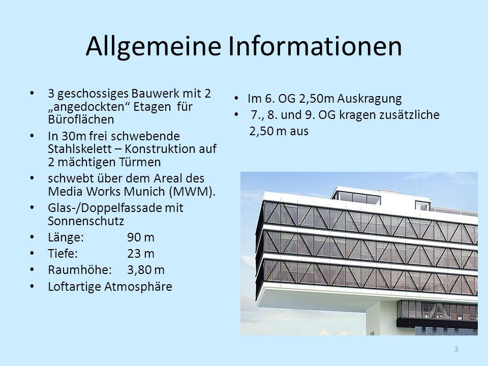Allgemeine Informationen 3 geschossiges Bauwerk mit 2 angedockten Etagen für Büroflächen In 30m frei schwebende Stahlskelett – Konstruktion auf 2 mächtigen Türmen schwebt über dem Areal des Media Works Munich (MWM).