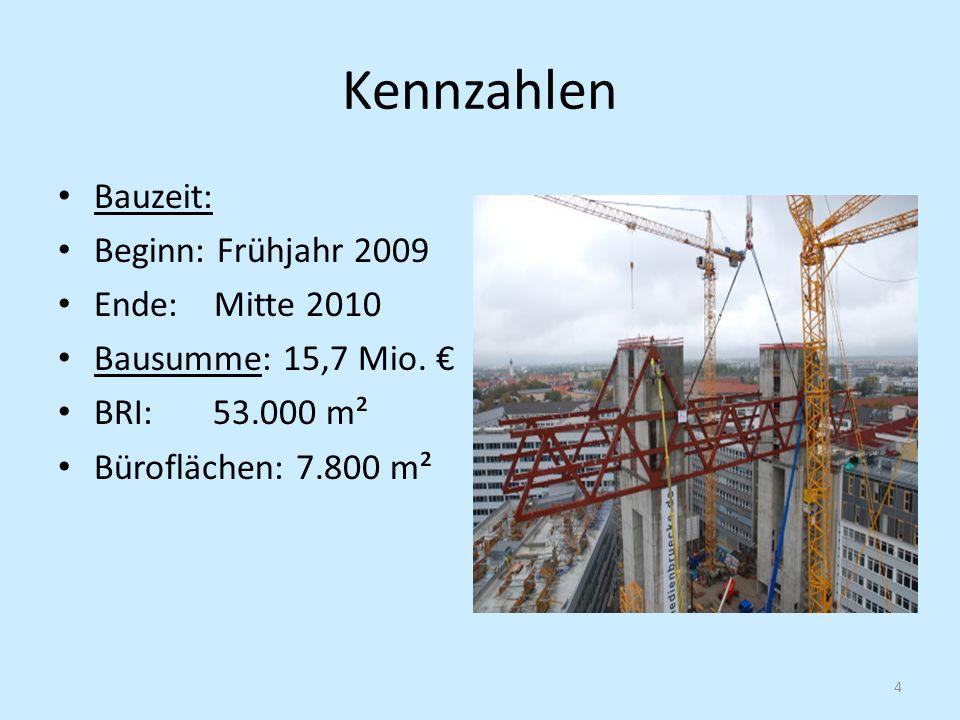 Kennzahlen Bauzeit: Beginn: Frühjahr 2009 Ende: Mitte 2010 Bausumme: 15,7 Mio. BRI: 53.000 m² Büroflächen: 7.800 m² 4