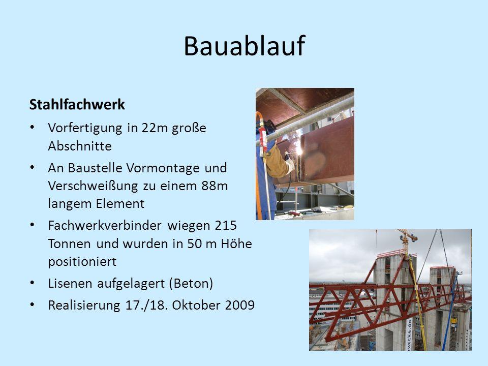 Bauablauf Stahlfachwerk Vorfertigung in 22m große Abschnitte An Baustelle Vormontage und Verschweißung zu einem 88m langem Element Fachwerkverbinder w