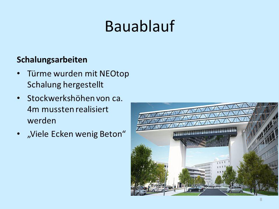 Bauablauf Schalungsarbeiten Türme wurden mit NEOtop Schalung hergestellt Stockwerkshöhen von ca. 4m mussten realisiert werden Viele Ecken wenig Beton