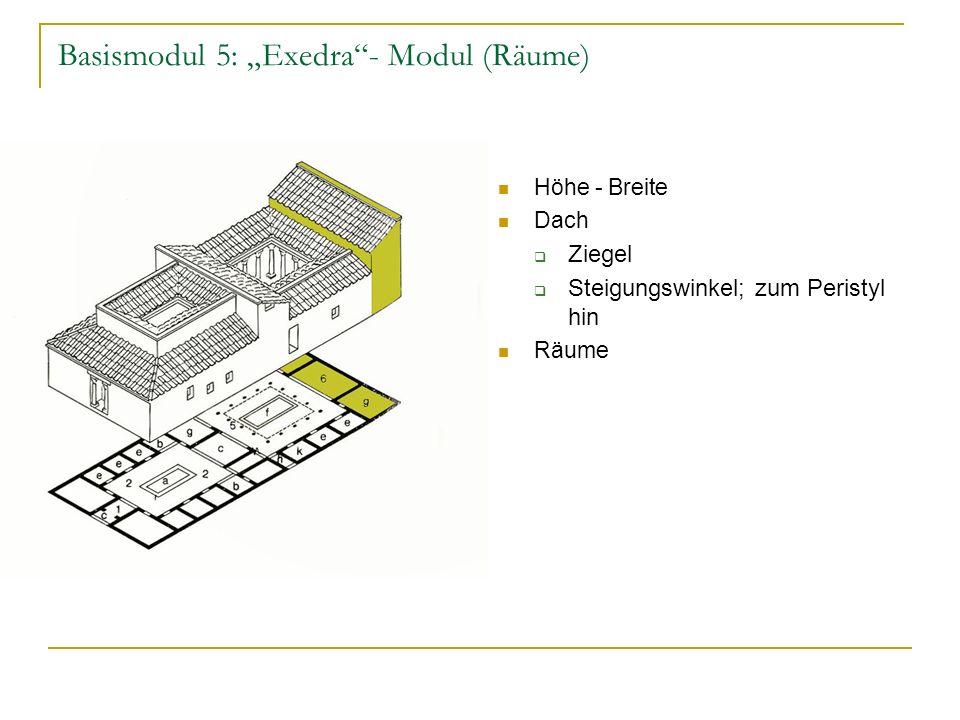 Basismodul 5: Exedra- Modul (Räume) Höhe - Breite Dach Ziegel Steigungswinkel; zum Peristyl hin Räume